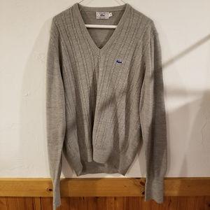 IZOD Lacoste Rare Knit Brown Wool Cardigan L